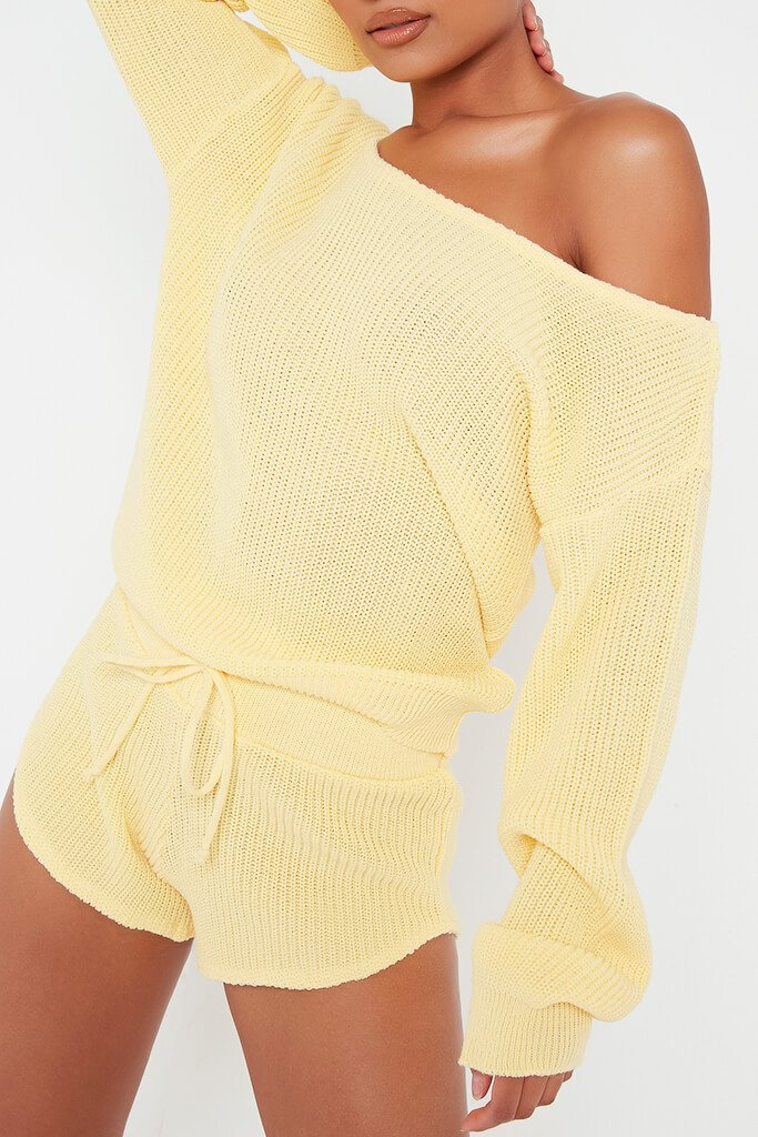 Lemon Knitted Slash Neck Jumper And Runner Shorts Set view 4