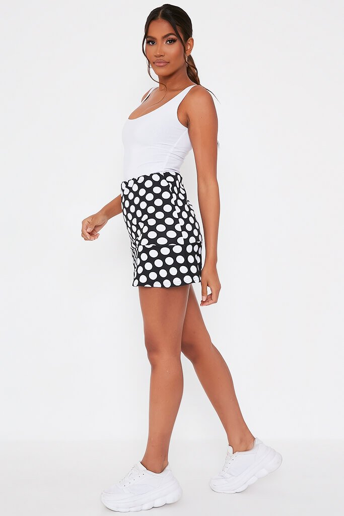 Black Polka Dot Frill Hem Mini Skirt view 3