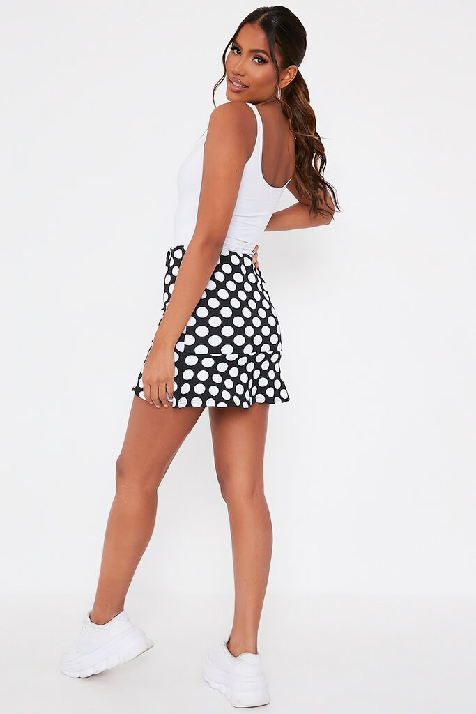 Black Polka Dot Frill Hem Mini Skirt view 5