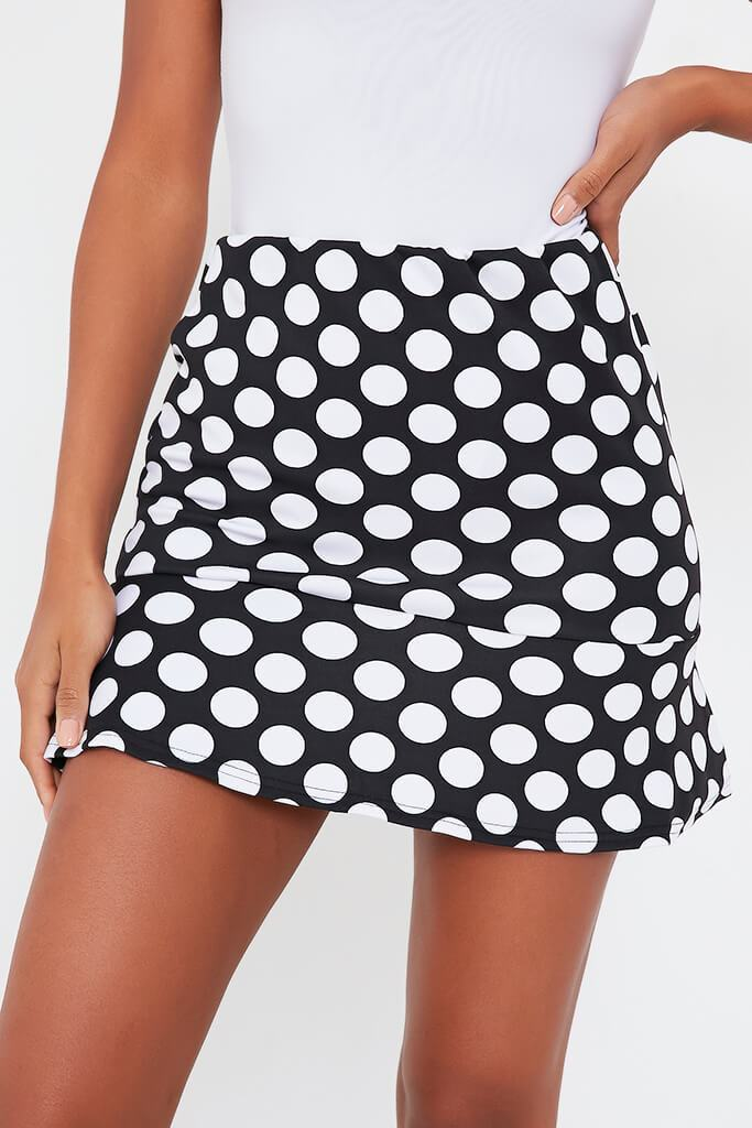 Black Polka Dot Frill Hem Mini Skirt view 4