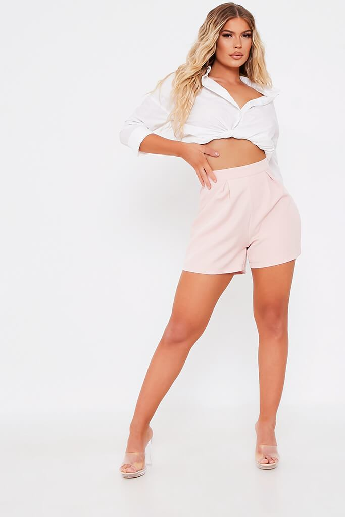 Baby Pink High Waisted Inverted Pleat Shorts view 3