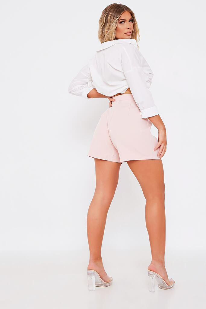 Baby Pink High Waisted Inverted Pleat Shorts view 5