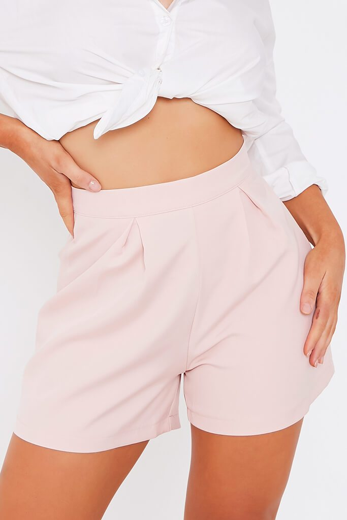 Baby Pink High Waisted Inverted Pleat Shorts view 4