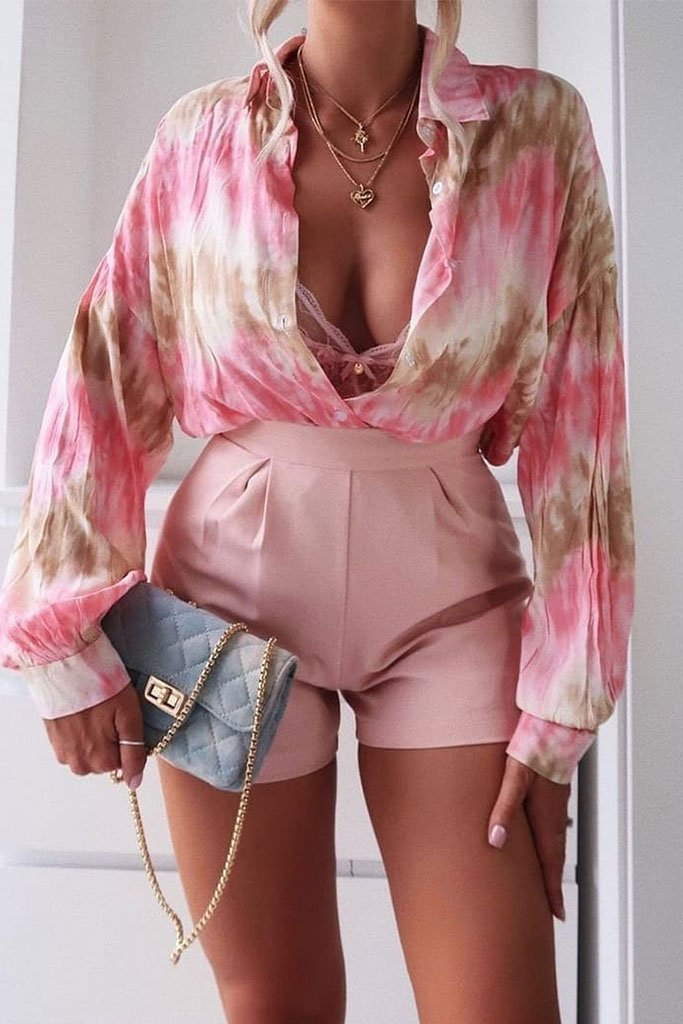Baby Pink High Waisted Inverted Pleat Shorts