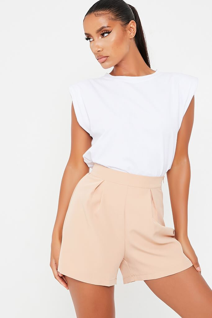 Stone High Waisted Inverted Pleat Shorts view 2
