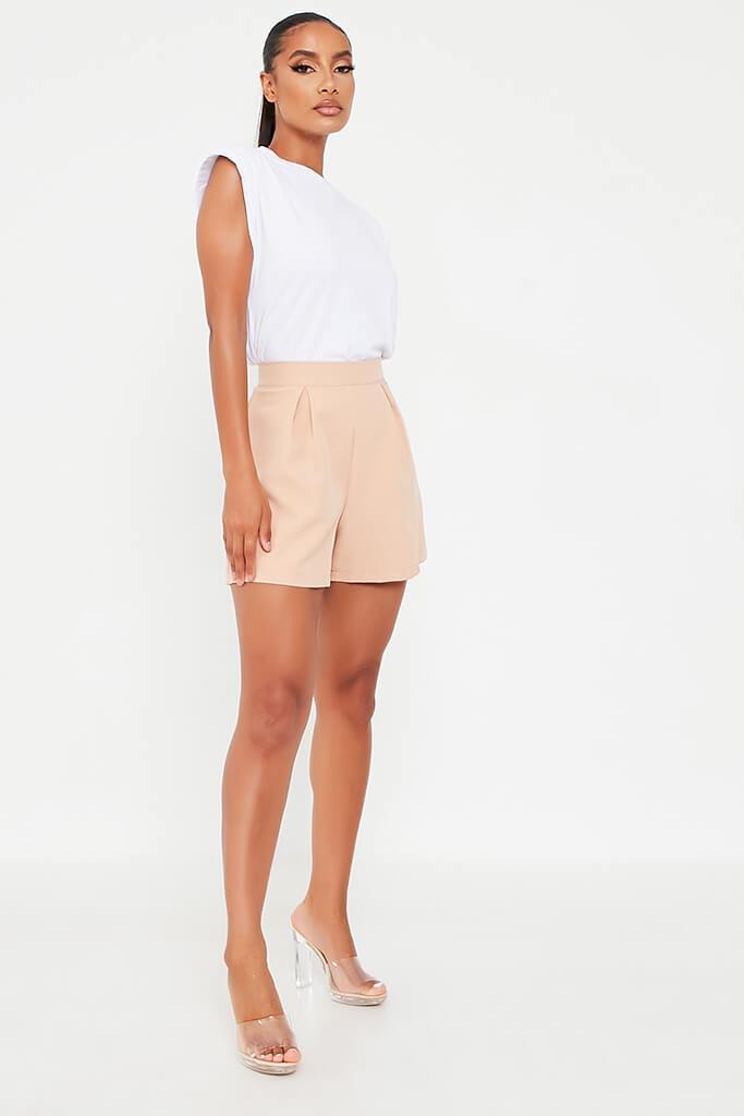 Stone High Waisted Inverted Pleat Shorts view 3