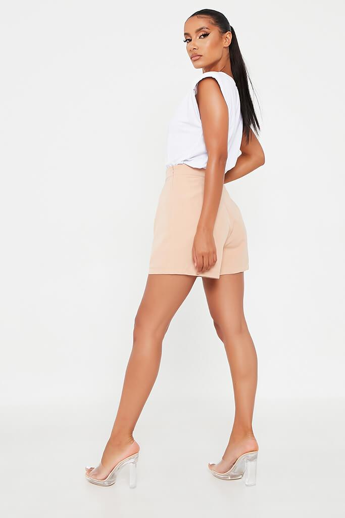 Stone High Waisted Inverted Pleat Shorts view 5