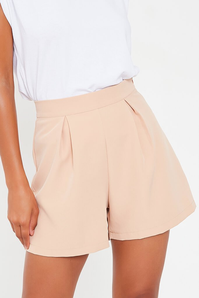 Stone High Waisted Inverted Pleat Shorts view 4