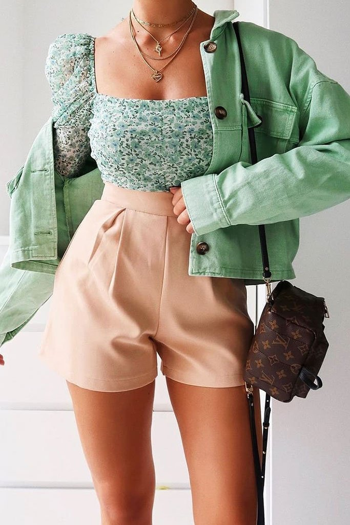 Stone High Waisted Inverted Pleat Shorts