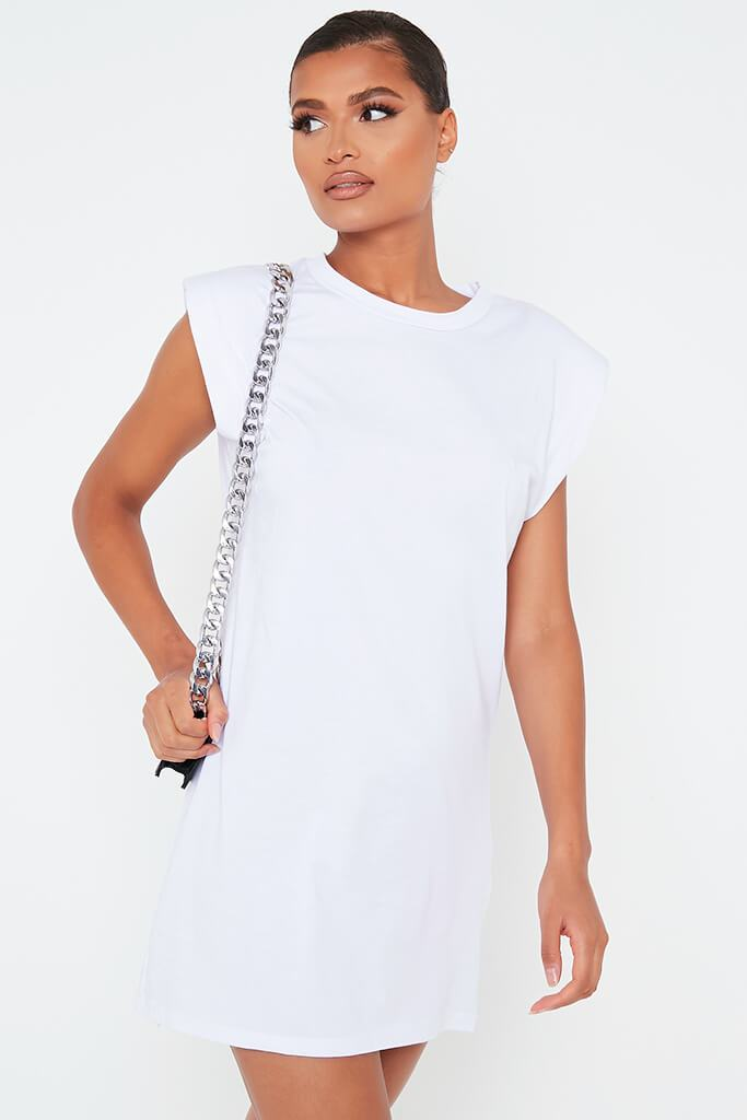 White Padded Shoulder Bodycon Dress