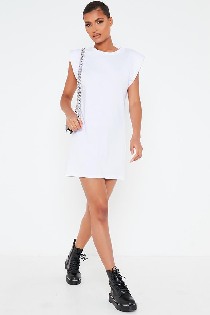 White Padded Shoulder Bodycon Dress view 2
