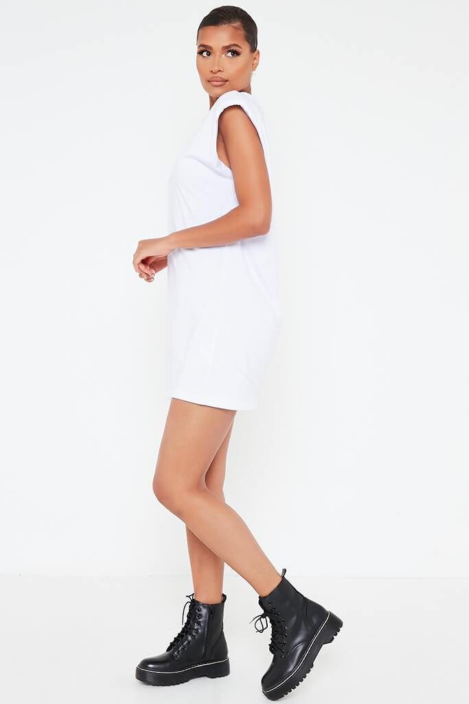 White Padded Shoulder Bodycon Dress view 3
