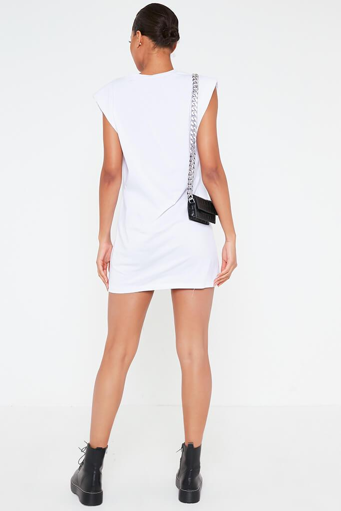 White Padded Shoulder Bodycon Dress view 5