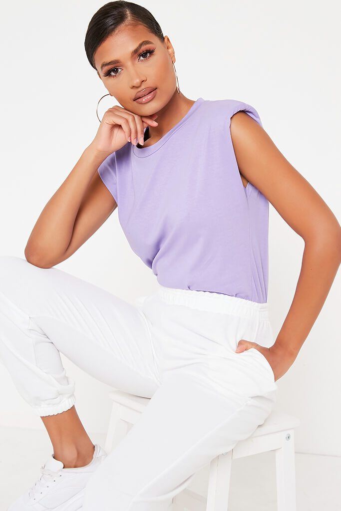Lilac Padded Shoulder Oversized T Shirt