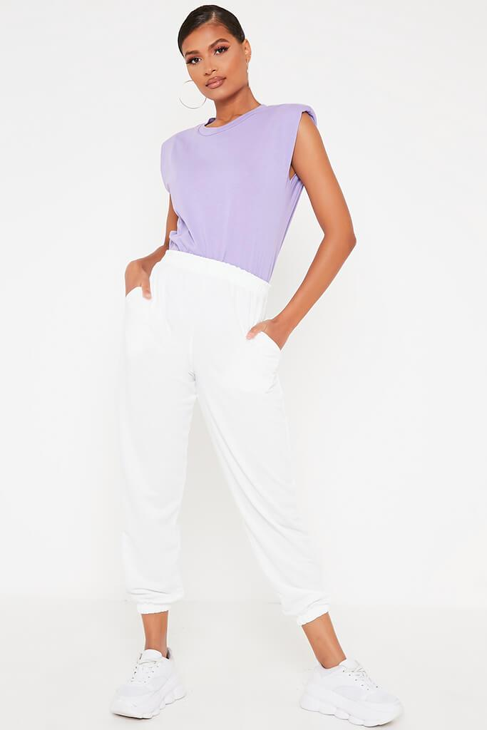 Lilac Padded Shoulder Oversized T Shirt view 2