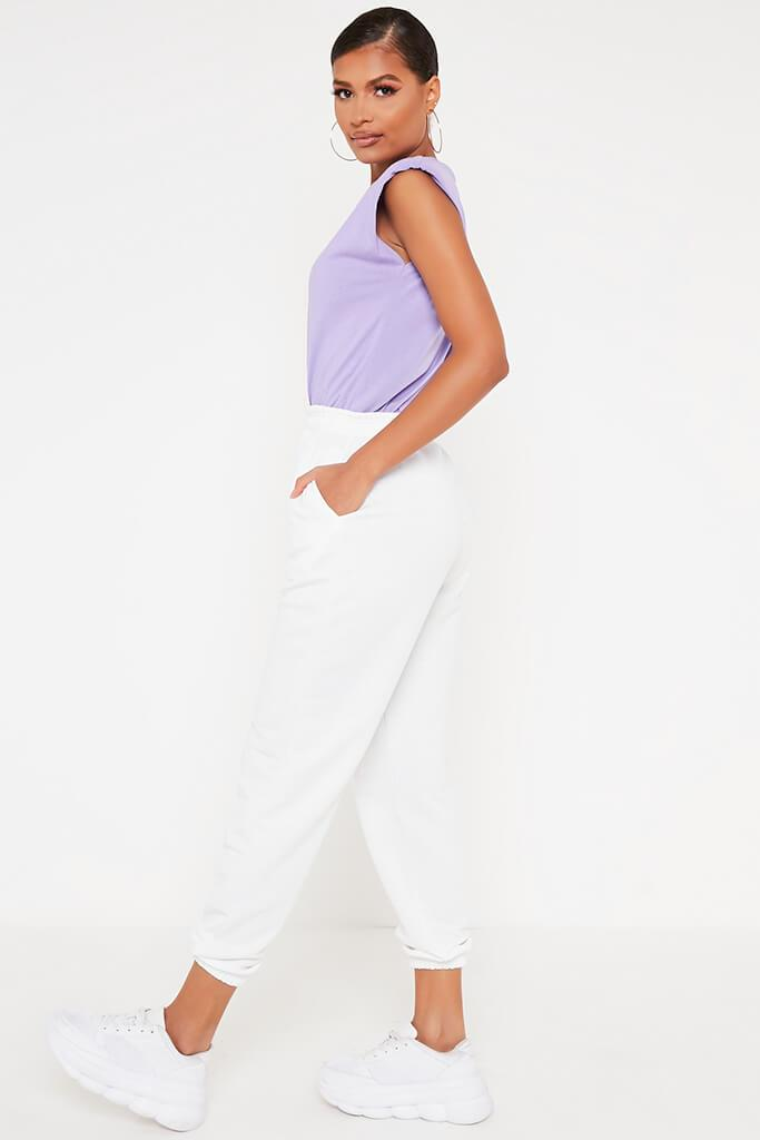 Lilac Padded Shoulder Oversized T Shirt view 3