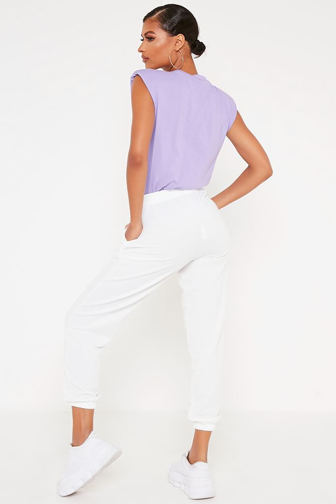 Lilac Padded Shoulder Oversized T Shirt view 5
