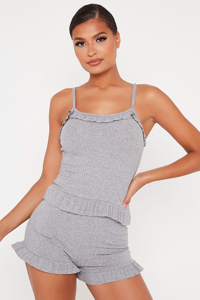 Grey Frill Cami Top And Shorts Set