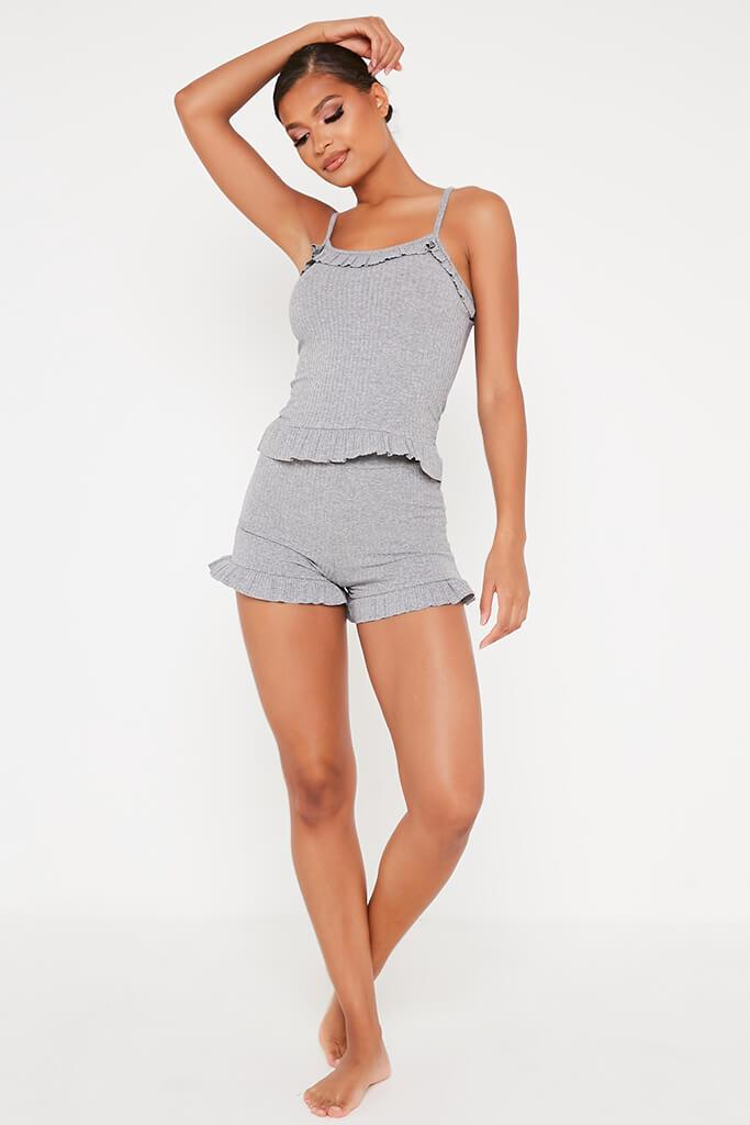 Grey Frill Cami Top And Shorts Set view 2