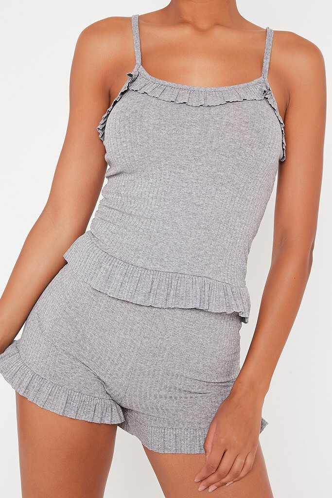 Grey Frill Cami Top And Shorts Set view 4
