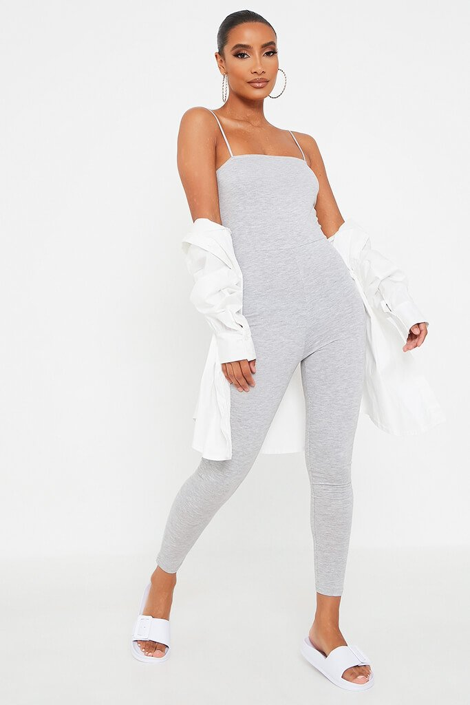 Grey Basic Jersey Cami Square Neck Jumpsuit view main view