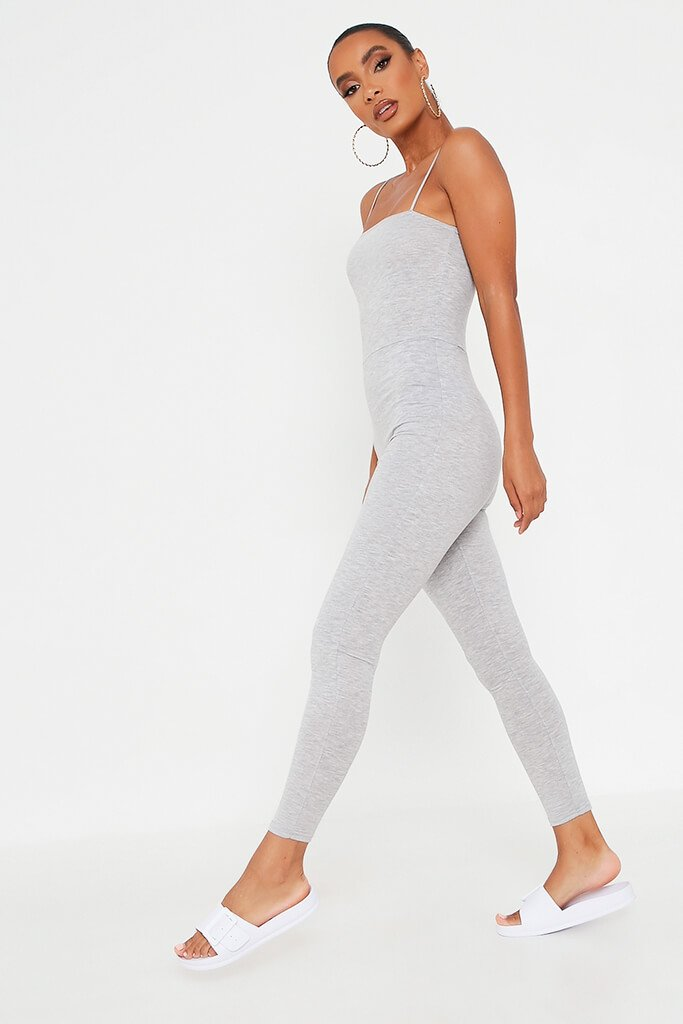 Grey Basic Jersey Cami Square Neck Jumpsuit view 3