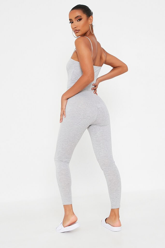 Grey Basic Jersey Cami Square Neck Jumpsuit view 5