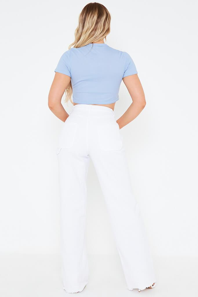 Baby Blue Butterfly Embroidered Crop Top view 5