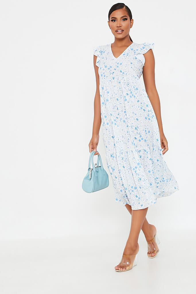 Baby Blue Woven Ditsy Floral Flutter Sleeve Tiered Midi Smock Dress