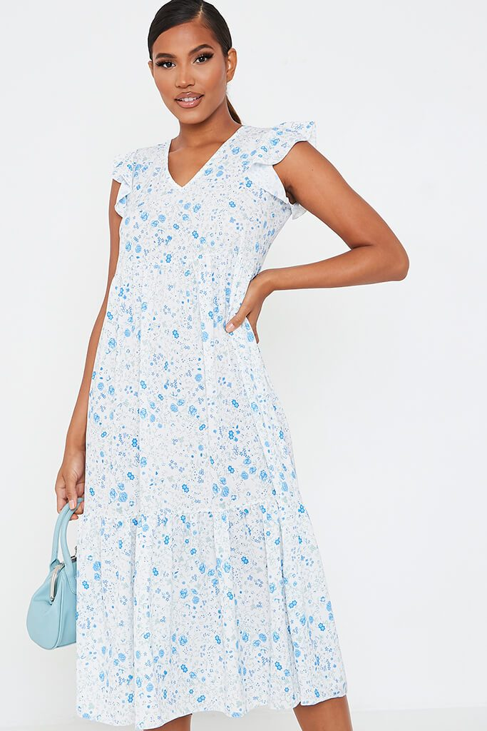 Baby Blue Woven Ditsy Floral Flutter Sleeve Tiered Midi Smock Dress view 2