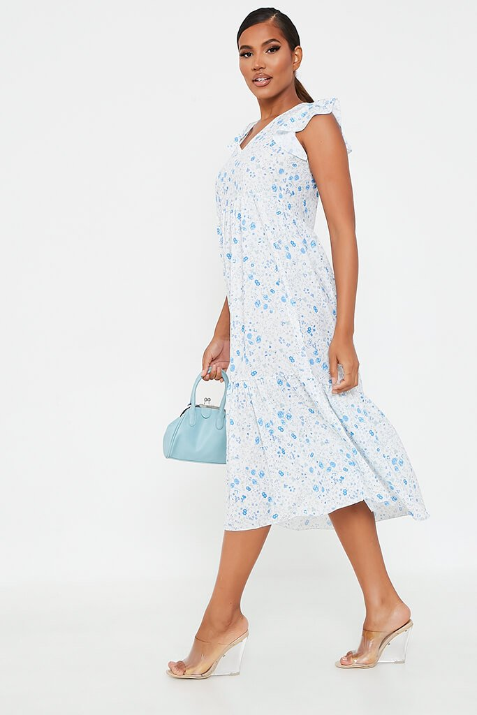 Baby Blue Woven Ditsy Floral Flutter Sleeve Tiered Midi Smock Dress view 3