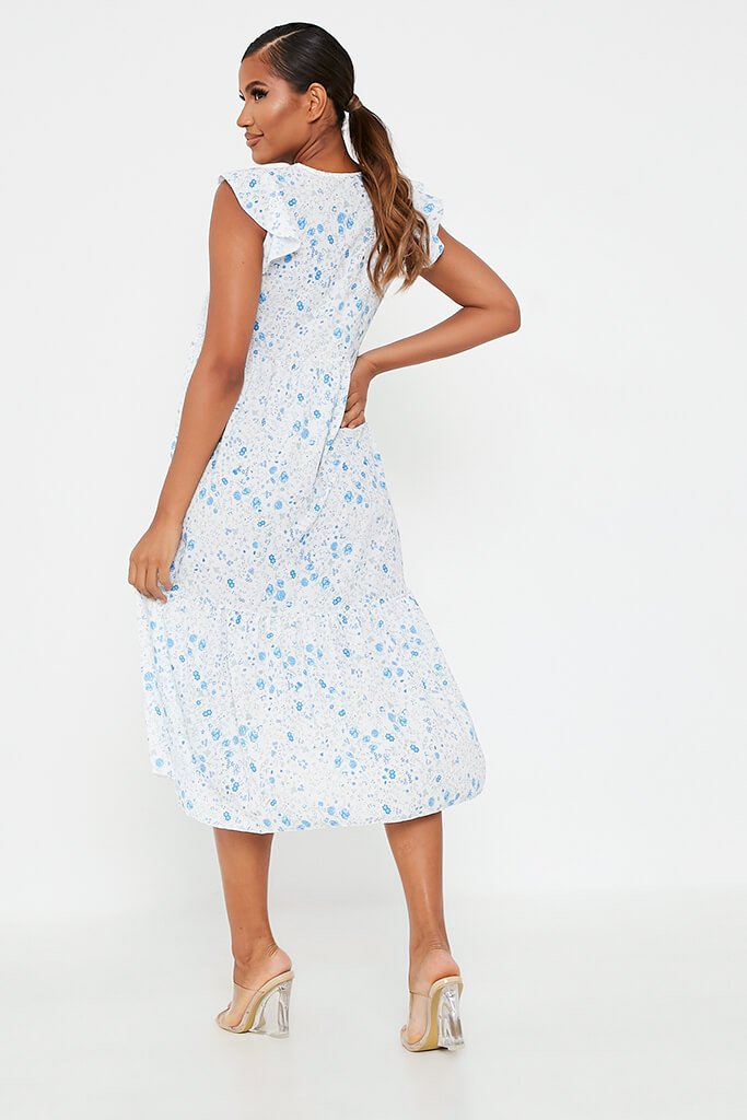 Baby Blue Woven Ditsy Floral Flutter Sleeve Tiered Midi Smock Dress view 5
