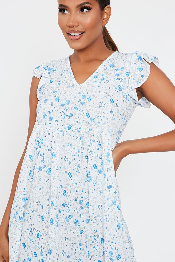 Baby Blue Woven Ditsy Floral Flutter Sleeve Tiered Midi Smock Dress view 4