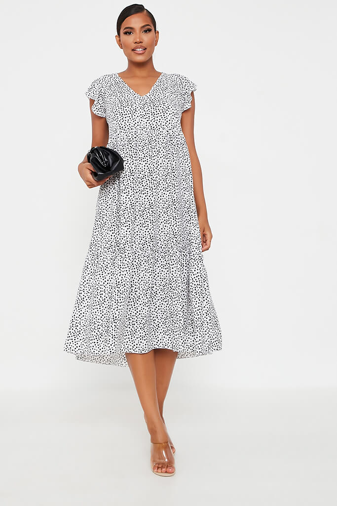 White Woven Polka Dot Flutter Sleeve Tiered Midi Smock Dress