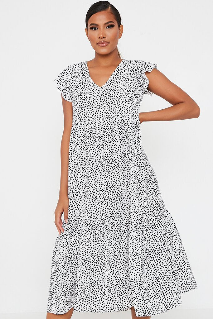 White Woven Polka Dot Flutter Sleeve Tiered Midi Smock Dress view 2