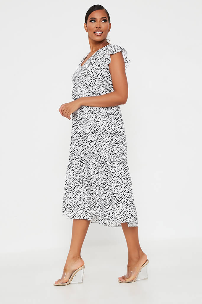 White Woven Polka Dot Flutter Sleeve Tiered Midi Smock Dress view 3