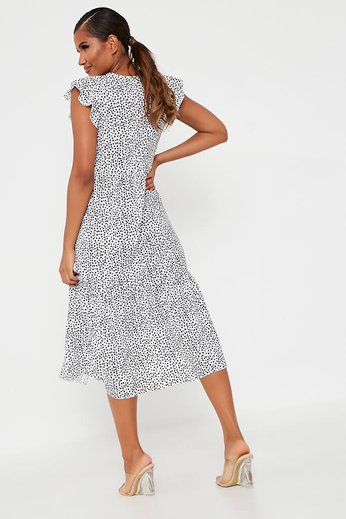 White Woven Polka Dot Flutter Sleeve Tiered Midi Smock Dress view 5