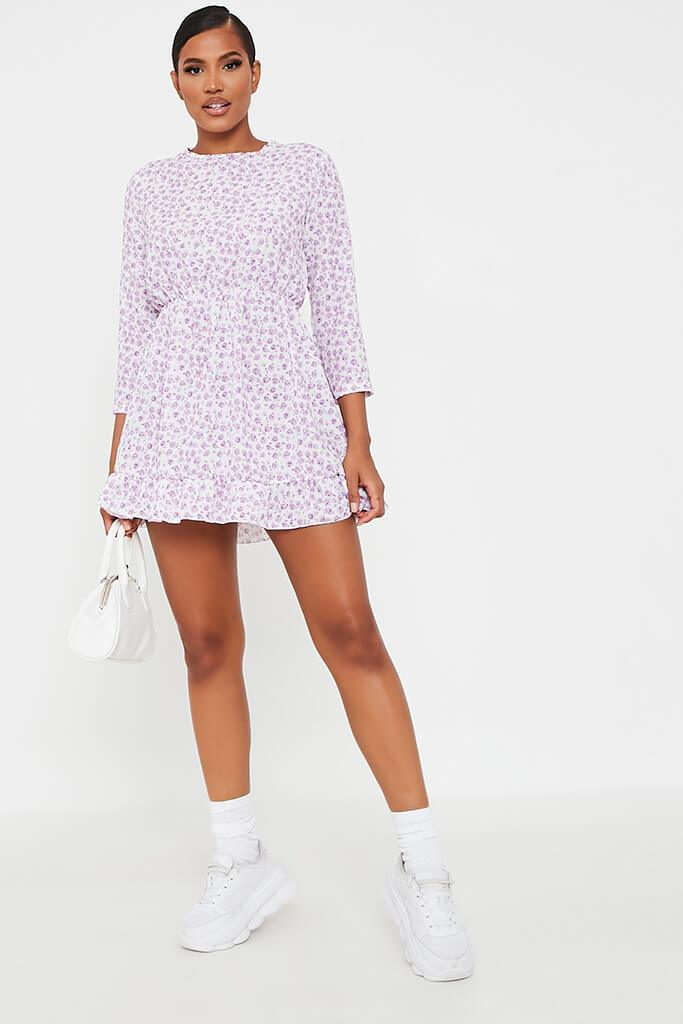 Lilac Woven Ditsy Floral 3/4 Sleeve Bust Detail Tea Dress view 2