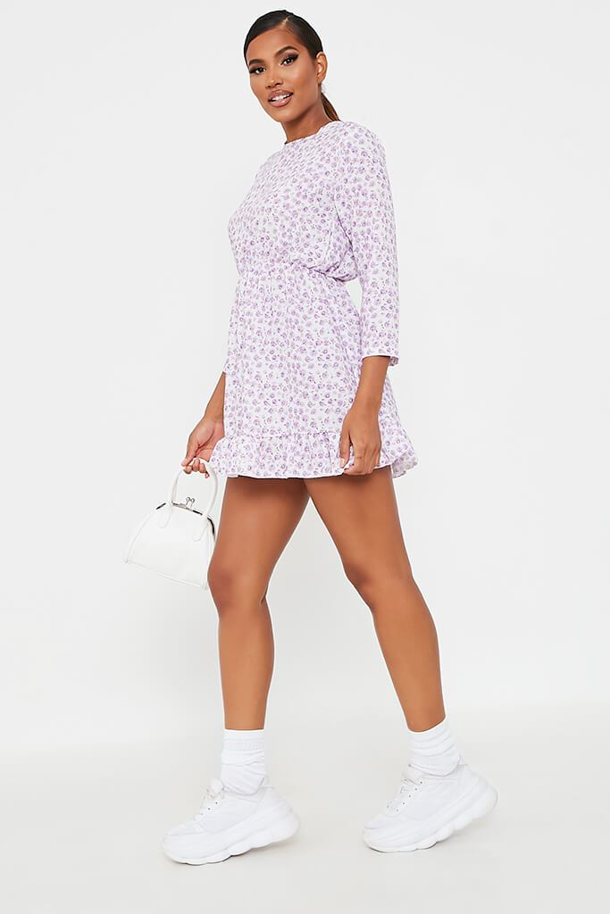 Lilac Woven Ditsy Floral 3/4 Sleeve Bust Detail Tea Dress view 3
