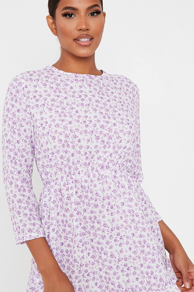 Lilac Woven Ditsy Floral 3/4 Sleeve Bust Detail Tea Dress view 4