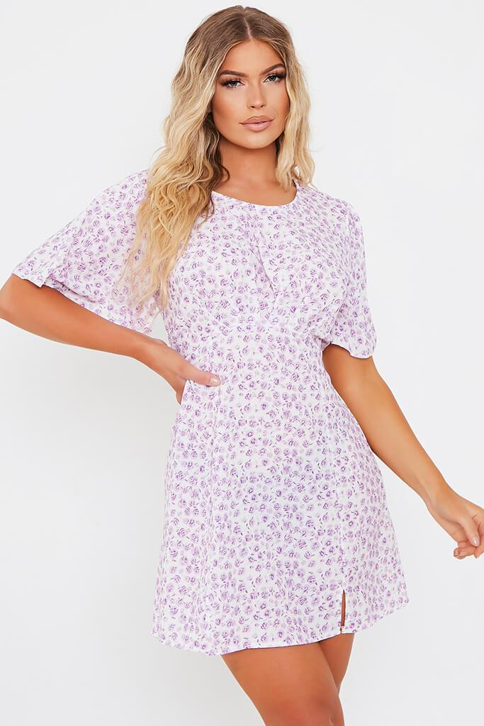 Lilac Woven Ditsy Floral Short Sleeve Bust Detail Tea Dress