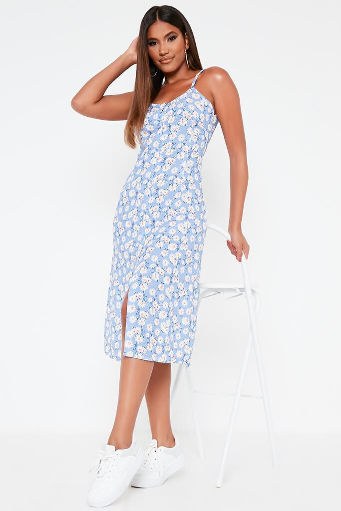 Blue Woven Ditsy Daisy Cami Strap Button Front Midi Dress