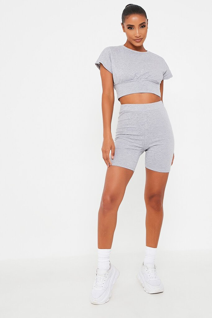 Grey Waist Band T Shirt With Cycling Short Set view 2