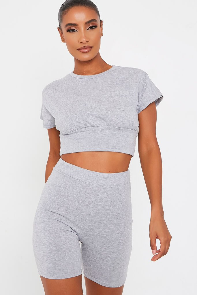 Grey Waist Band T Shirt With Cycling Short Set