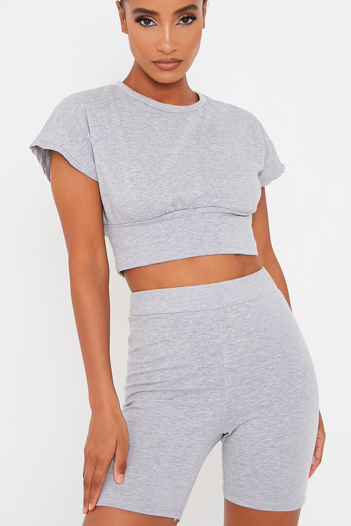 Grey Waist Band T Shirt With Cycling Short Set view 4