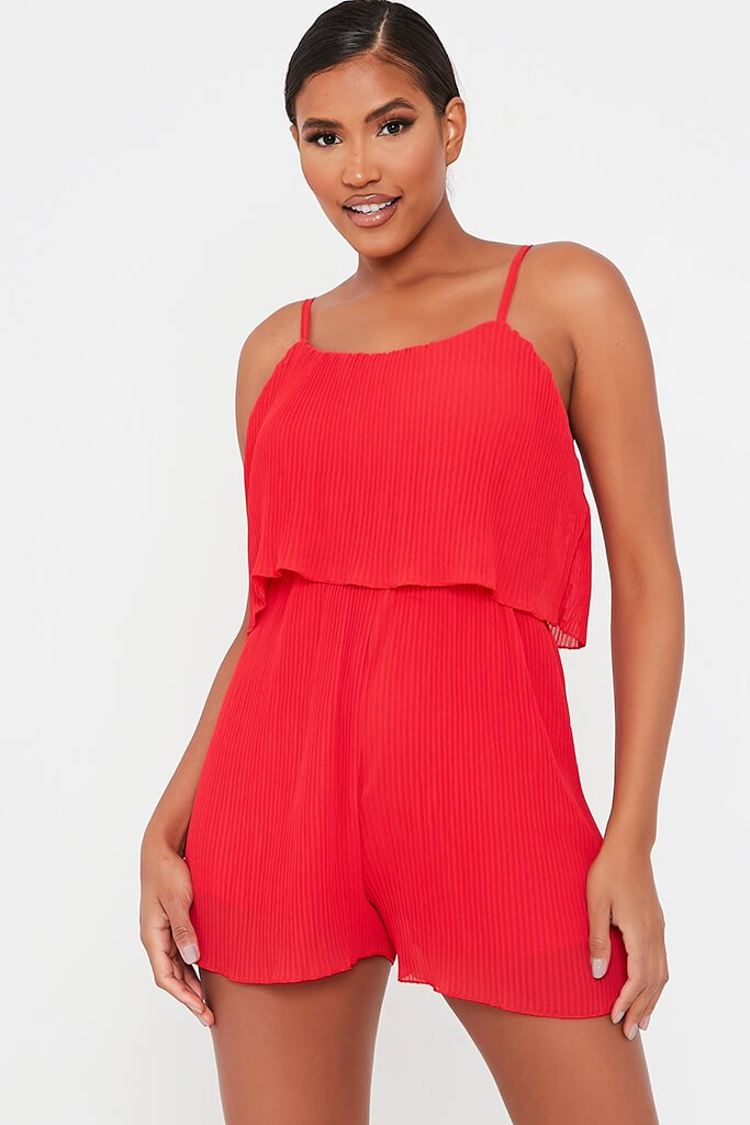 Red Pleated Strappy Playsuit