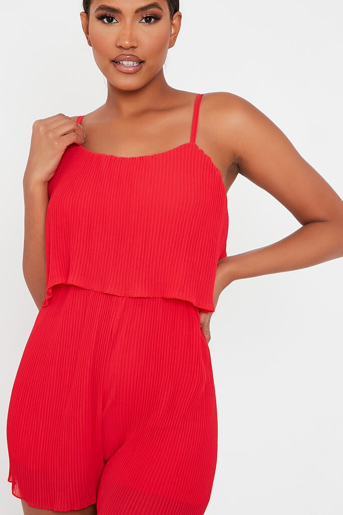 Red Pleated Strappy Playsuit view 4