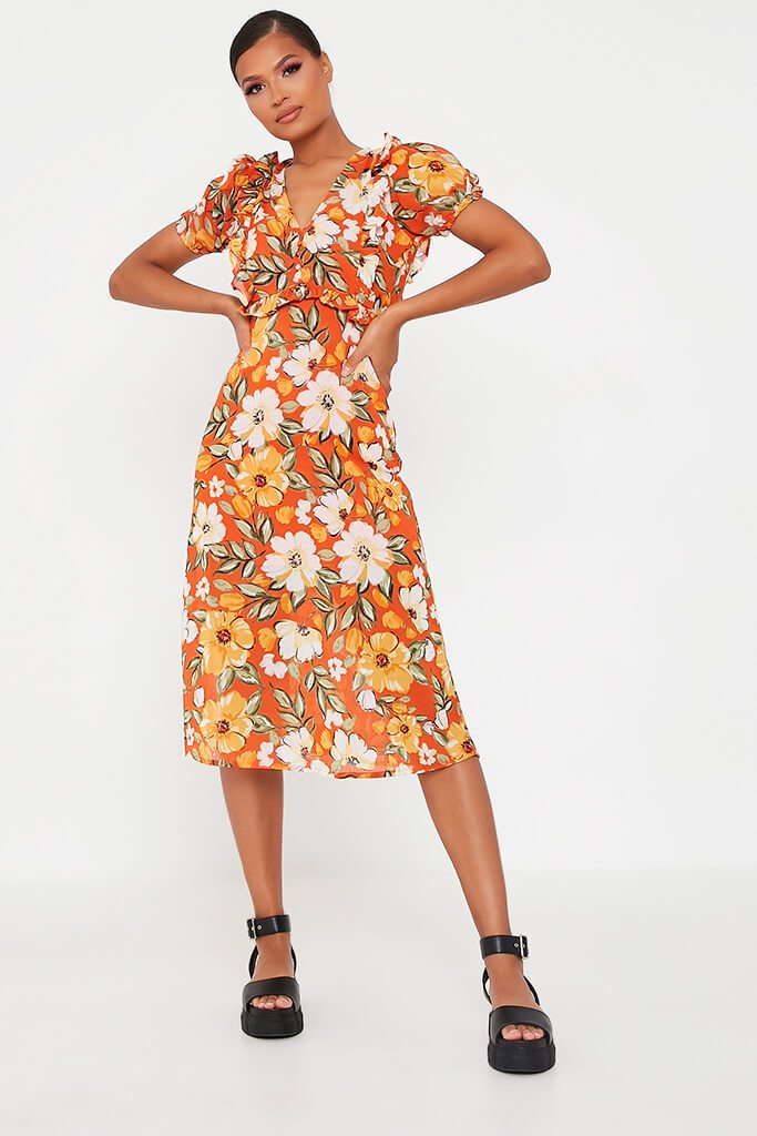 Orange Woven Floral Plunge Puff Sleeve Midi Dress view 2