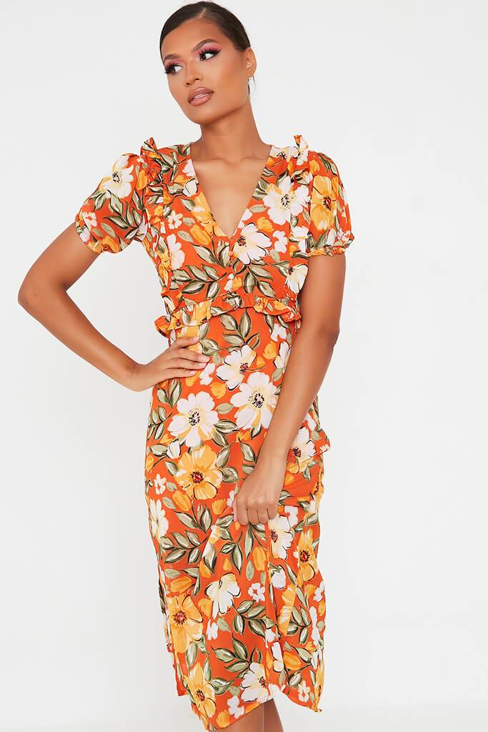 Orange Woven Floral Plunge Puff Sleeve Midi Dress