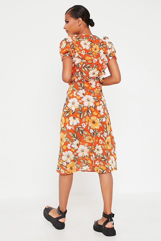 Orange Woven Floral Plunge Puff Sleeve Midi Dress view 5